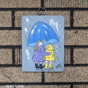 Vintage Hand Painted Umbrella Girl Painting MCM